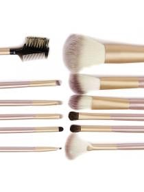 12 Pcs Professional Makeup Brushes Set Foundation Eyebrow Eyeliner Blush Soft Cosmetic Set + Pouch Bag (Gold)